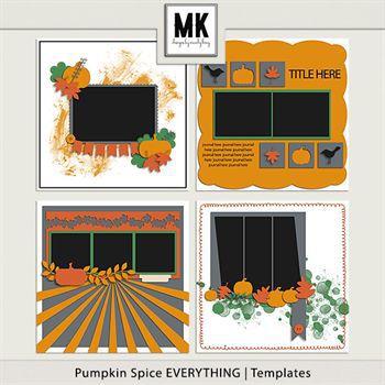 Pumpkin Spice Everything - Template Set Digital Art - Digital Scrapbooking Kits