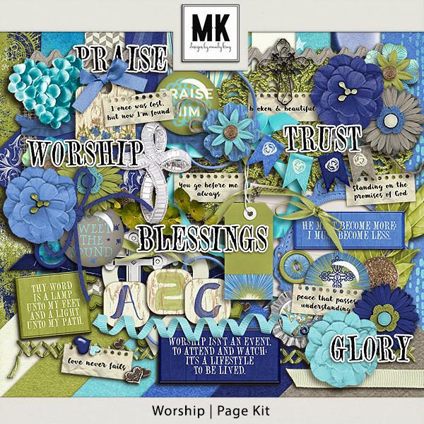 Worship - Page Kit Digital Art - Digital Scrapbooking Kits