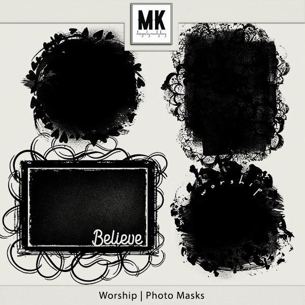 Worship - Photo Masks Digital Art - Digital Scrapbooking Kits