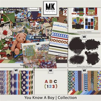 You Know A Boy - Discounted Bundle Digital Art - Digital Scrapbooking Kits