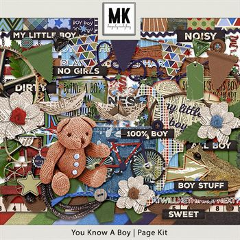 You Know A Boy - Page Kit Digital Art - Digital Scrapbooking Kits