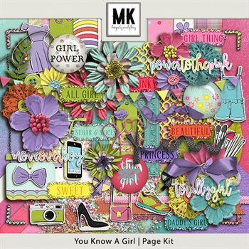 You Know A Girl - Page Kit Digital Art - Digital Scrapbooking Kits