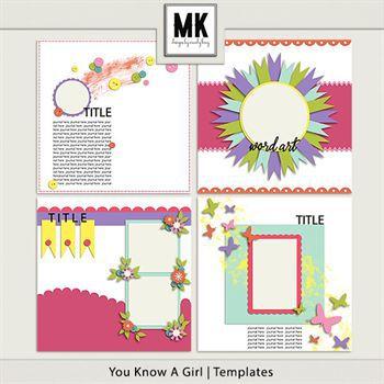 You Know A Girl - Template Set Digital Art - Digital Scrapbooking Kits