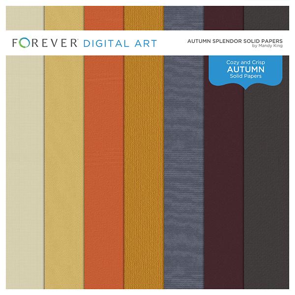 Autumn Splendor Solid Papers Digital Art - Digital Scrapbooking Kits