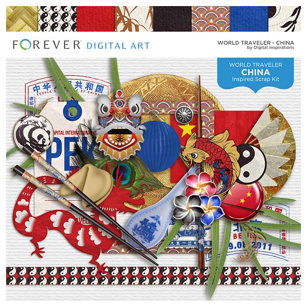 World Traveler - China Digital Art - Digital Scrapbooking Kits