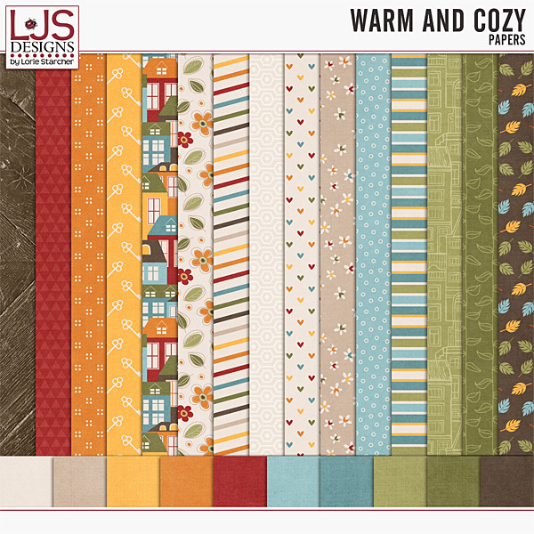 Warm And Cozy - Papers Digital Art - Digital Scrapbooking Kits
