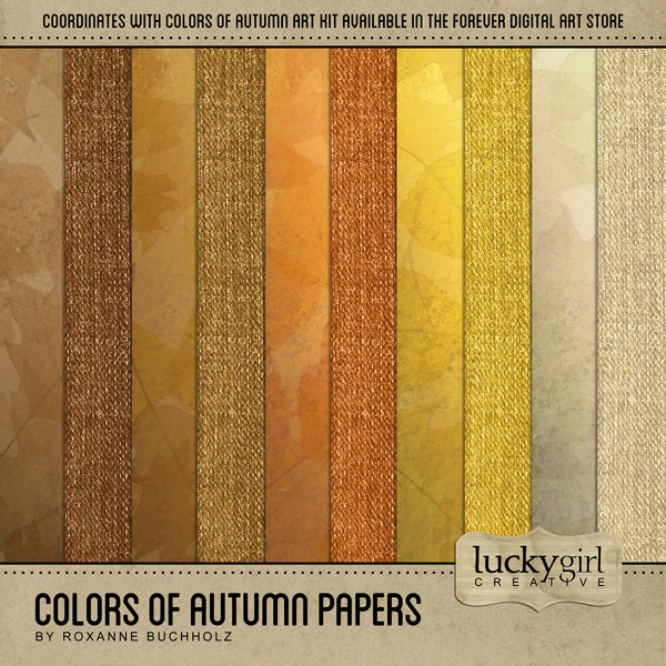 Colors Of Autumn Papers Digital Art - Digital Scrapbooking Kits