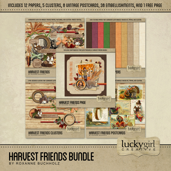 Harvest Friends Bundle Digital Art - Digital Scrapbooking Kits