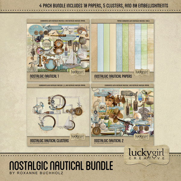 Nostalgic Nautical Bundle Digital Art - Digital Scrapbooking Kits