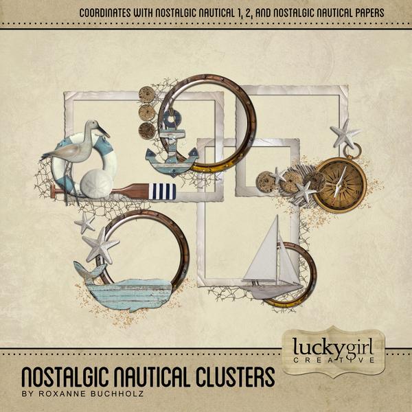 Nostalgic Nautical Clusters Digital Art - Digital Scrapbooking Kits