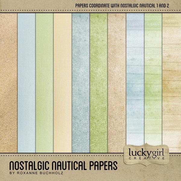 Nostalgic Nautical Papers Digital Art - Digital Scrapbooking Kits