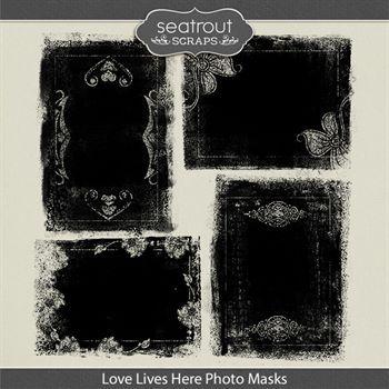 Love Lives Here Photo Masks Digital Art - Digital Scrapbooking Kits