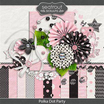 Polka Dot Party Digital Art - Digital Scrapbooking Kits