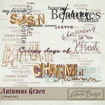 Autumns Grace Word Art Digital Art - Digital Scrapbooking Kits