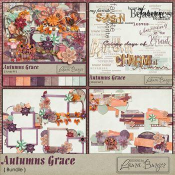 Autumns Grace Bundle Digital Art - Digital Scrapbooking Kits
