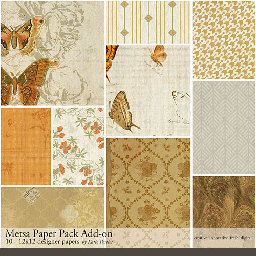 Metsa Add-on Paper Pack Digital Art - Digital Scrapbooking Kits