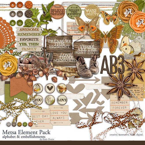 Metsa Element Pack Digital Art - Digital Scrapbooking Kits