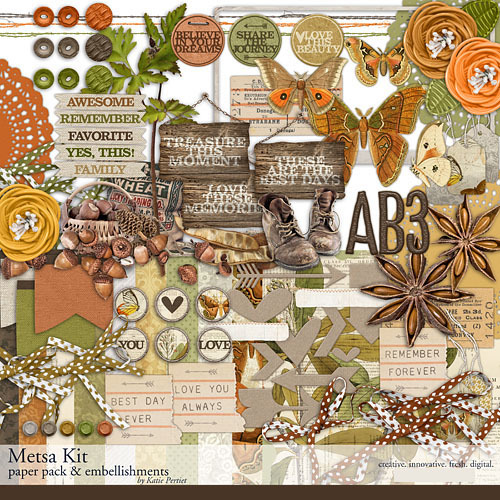 Metsa Scrapbook Kit Digital Art - Digital Scrapbooking Kits