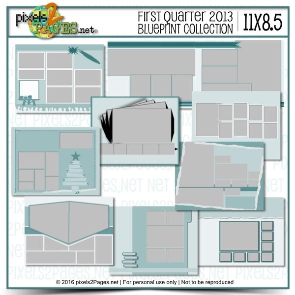 11x8.5 First Quarter 2013 Blueprint Collection Digital Art - Digital Scrapbooking Kits