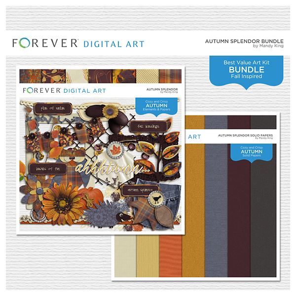Autumn Splendor Bundle Digital Art - Digital Scrapbooking Kits