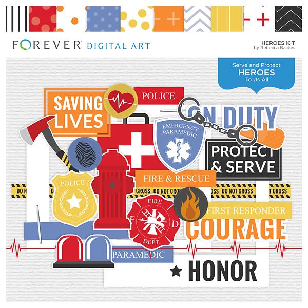 Heroes Kit Digital Art - Digital Scrapbooking Kits