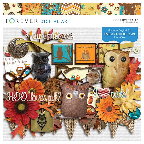 Hoo Loves Fall Digital Art - Digital Scrapbooking Kits