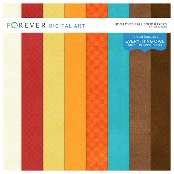 Hoo Loves Fall Solid Papers Digital Art - Digital Scrapbooking Kits