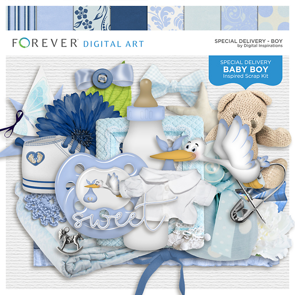 Special Delivery - Boy Digital Art - Digital Scrapbooking Kits