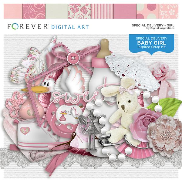 Special Delivery - Girl Digital Art - Digital Scrapbooking Kits