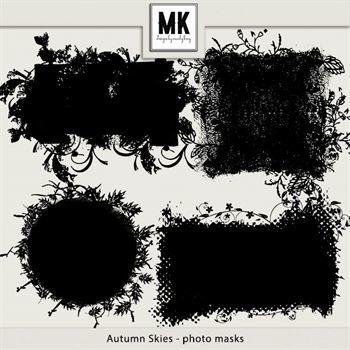 Autumn Skies - Photo Masks Digital Art - Digital Scrapbooking Kits