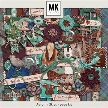 Autumn Skies - Page Kit Digital Art - Digital Scrapbooking Kits
