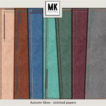Autumn Skies - Stitched Papers Digital Art - Digital Scrapbooking Kits