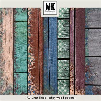 Autumn Skies - Wood Papers Digital Art - Digital Scrapbooking Kits