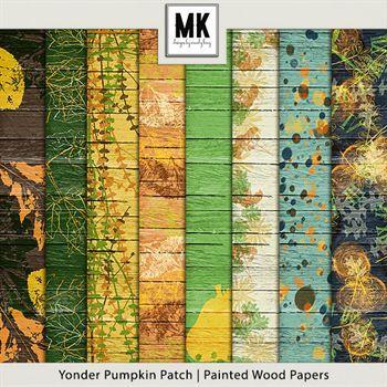 Yonder Pumpkin Patch - Painted Wood Papers Digital Art - Digital Scrapbooking Kits