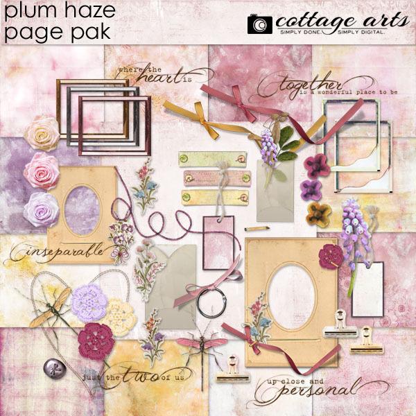Plum Haze Page Pak Digital Art - Digital Scrapbooking Kits