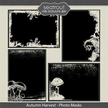 Autumn Harvest Photo Masks Digital Art - Digital Scrapbooking Kits