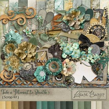 Take A Moment To Breathe Scrap Kit Digital Art - Digital Scrapbooking Kits