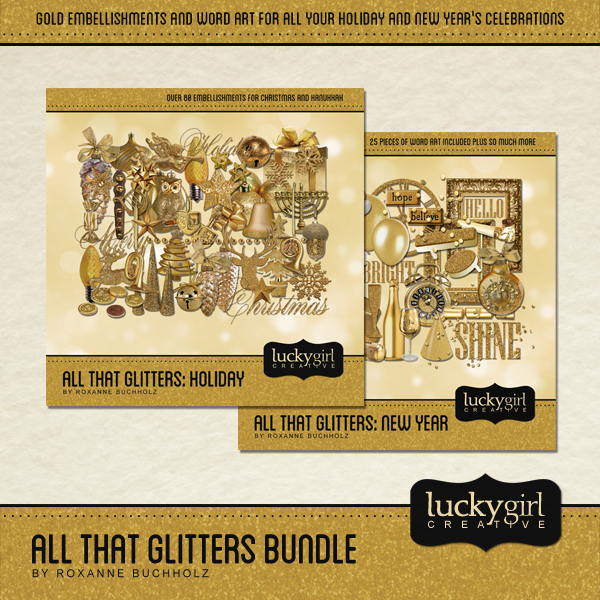 All That Glitters Bundle Digital Art - Digital Scrapbooking Kits