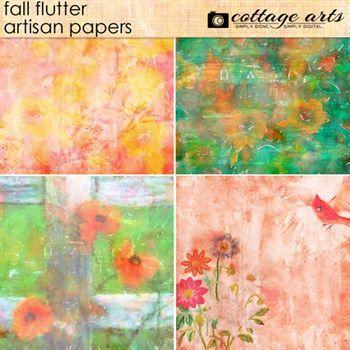 Fall Flutter Artisan Papers Digital Art - Digital Scrapbooking Kits