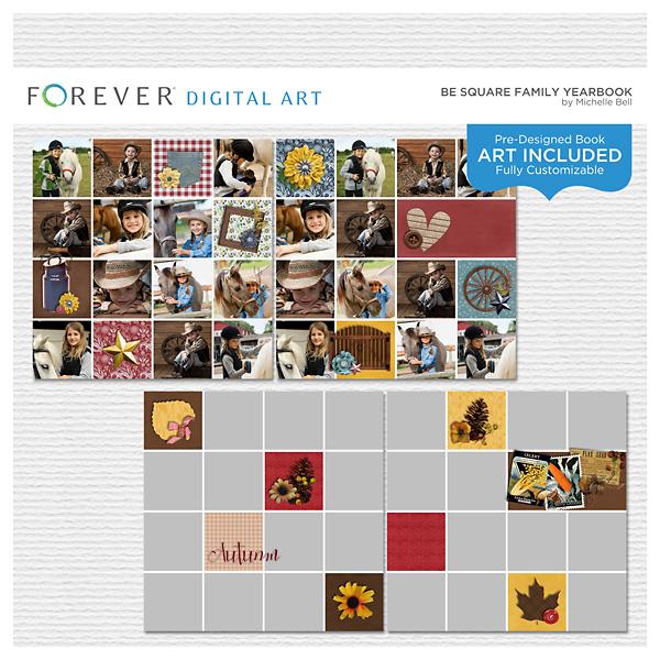 Be Square Family Yearbook Digital Art - Digital Scrapbooking Kits