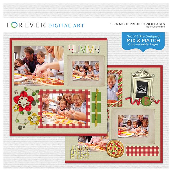 Pizza Night Pre-designed Pages Digital Art - Digital Scrapbooking Kits