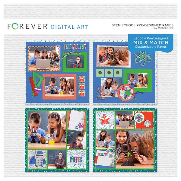Stem School Pre-designed Pages Digital Art - Digital Scrapbooking Kits
