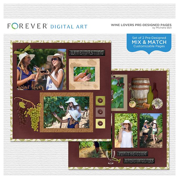 Wine Lovers Pre-designed Pages Digital Art - Digital Scrapbooking Kits