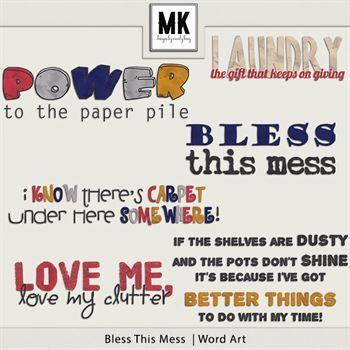 Bless This Mess - Word Art Digital Art - Digital Scrapbooking Kits