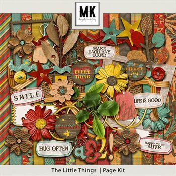 The Little Things Page Kit Digital Art - Digital Scrapbooking Kits
