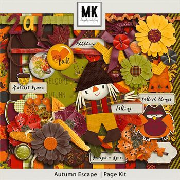 Autumn Escape Page Kit Digital Art - Digital Scrapbooking Kits