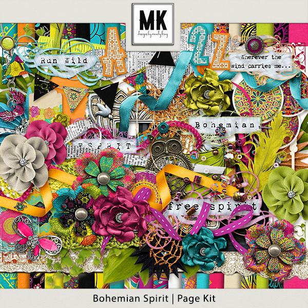 Bohemian Spirit - Page Kit Digital Art - Digital Scrapbooking Kits