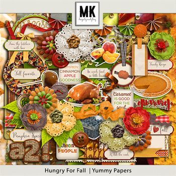 Hungry For Fall - Page Kit Digital Art - Digital Scrapbooking Kits