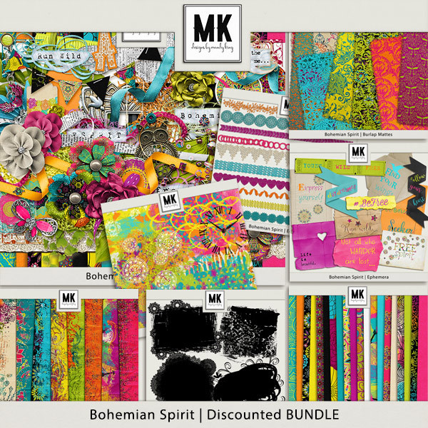 Bohemian Spirit - Discounted Bundle Digital Art - Digital Scrapbooking Kits