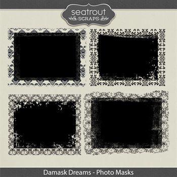 Damask Dreams Photo Masks Digital Art - Digital Scrapbooking Kits